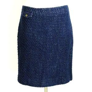 J Crew Boucle Navy Blue Wool Pencil Skirt